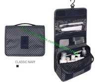 Wholesale Hanging Canvas Bags - Top Grade Black Plaid Canvas Coated HANGING TOILETRY KIT N41419 Fashion Designer Bag