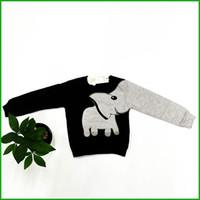 Wholesale Elephant Long Sleeve - long sleeve boys swearshirt high quality elephant print gray black colors kids clothing tops children hot selling t-shirts fast shipping