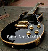 mahagoni gitarren körper großhandel-Custom Limited 1958 Reissue P90 Tonabnehmer Schwarz E-Gitarre Creme 5-lagig Mahagoni Body Block MOP Griffbrett Inlay Gold Hardware