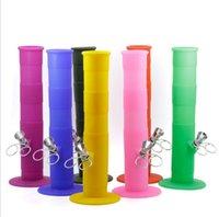 Wholesale Metal Tube Bending - New 230mm folded FDA Portable Hookah Silicone Bongs Smoking Tube Water Pipes Percolator Concentrate 5colors with metal oil rig Tools