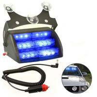 veículos de emergência de luzes piscando azul venda por atacado-18 LED Carro de Emergência Aviso Strobe Flash de Luz Do Veículo 18LED 12 V com 4 Modo de Flash Azul