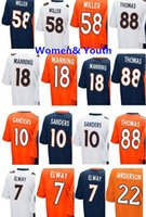Wholesale Peyton Manning Jersey Xxl - Women youth 7 John Elway 10 Emmanuel Sanders #18 Peyton Manning 22 Anderson 58 Von Miller jersey 88 Thomas womens kids stitched Jerseys