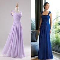 Wholesale Dress Double Shoulder Train - Navy Blue Bridesmaid Dress High Waist Double Shoulder Wedding Party Gorgeous LongChiffon Vestidos De Novia Dressed Longo