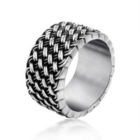 Wholesale men's wedding rings - Titanium Steel Ring Retro Love Intertwined Ring Retro Knitting Men s Individuality Dominance Rings Factory Direct