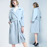 Wholesale Ladies Knee Length Coat - Blue Sky Winter Wear Fashion Wedding Coat For Young Lady Plus Size Knee Length Bridal Overcoat With Sash