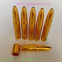 Wholesale Aluminum Bullet - Medium Bullet Aluminum Metal Smoking Pipe Shisha Hookah Herb Grinder Gift Rolling Machine Tobacco Cigraette Pipe 77*14mm Tools Accessories