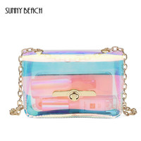 Wholesale Transparent Hand Bags - new arrival Transparent Hologram laser Bag Women Hand Clutches PVC See Through Clear Small Chain Bag