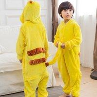 Wholesale Girls Onesie Pajamas - Kids adult Pikachu Pajamas Kigurumi Pikachu Cosplay Costume Unisex Pikachu Hoodies Onesie Sleepwear Pajamas Sleepwear KKA2405