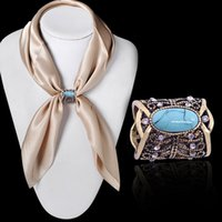 Wholesale Vintage Buckle Turquoise - Newest Fashion Accessories Bohemia Vintage Bronze Silver Plated Turquoise Brooch Scarf Clips Lapel Pins Scarf Buckle Jewelry