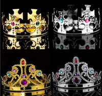 princesa adulta corona al por mayor-Party Cosplay Crown King Queen Princess royal diamond crown niños adultos corona headwear halloween navidad performance hat