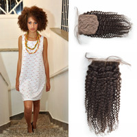 Wholesale Color Hid - Mongolian Afro Kinky Curly Silk Base Closure Virgin Human Hair Silk Closures Free Middle 3 Part Natural Color Hidden Knots 4x4 Inch G-EASY