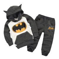 Wholesale Baby Fleece Hoodie Pants - 2016 Baby Batman Hoodies Baby Boys Girls Fleece Outfits Sets Thick Cartoon Coats Pants Suits Winter Kids Gray Tracksuits Sweater