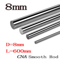 cnc doğrusal şaft toptan satış-Toptan-2 adet / grup Sıcak 8mm L600mm lineer mil OD 8mm x 600mm Silindir Liner Ray Doğrusal Mil Optik Eksen cnc parçaları
