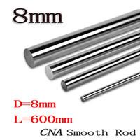 Wholesale 8mm Linear - Wholesale- 2pcs lot Hot 8mm L600mm linear shaft OD 8mm x 600mm Cylinder Liner Rail Linear Shaft Optical Axis cnc parts