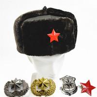 Wholesale Vintage Skis - Vintage Cotton Bomber Hats for Men Women Star Logo Winter Keep Warm Plush Hat Cap Unisex Trapper Hats with Earflap Ski Cap