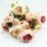 ingrosso decorazioni di foglie artificiali-HIGHT Fiore di seta di qualità europea 1 Bouquet di fiori artificiali Autunno Vivid Peony Fake Leaf Wedding Home Decorazione del partito