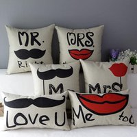 Wholesale Lips Throw Pillows - 45cm Mr Love Mrs Lips and Beard Cotton Linen Fabric Throw Pillow 18inch Handmade New Home Office Bedroom Decoration Sofa Back Cushion