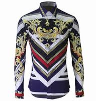 diseño de estilo real al por mayor-Nuevo estilo real hombres camisas de manga larga de rayas de impresión de diseño de moda de manga larga camisa de ajuste delgado hombre camisa de patrón