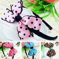 Wholesale Korean Hair Accessories Free Shipping - Free Shipping Hot Selling Korean Cute Kids Headbands Candy Color Dots Ribbon Bow Hair bands For Children Baby Girl Hair Accessories 4pc lot