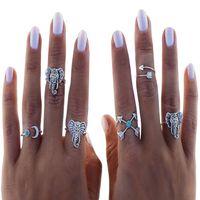antikes tibetisches türkis großhandel-Böhmischen Antik Silber Türkis Mond Pfeil Finger Ringe Set Frauen Tibetischen Elefanten Punk Knuckle Joint Ringe Set