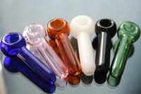 ingrosso miniatura bianca-Tubi in vetro per fumatori Tovagliolo in miniatura Mini Tubi in vetro per mani Best Spoon Pipes blu nero verde bianco rosa chiaro