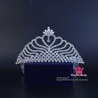 diadema reina corazones al por mayor-Tiaras nupciales Crown Heart Rhinestone Accesorios para el cabello Princesa Queen Crystal Tiaras de moda Peine Diadema Clip Party Prom Show 02397