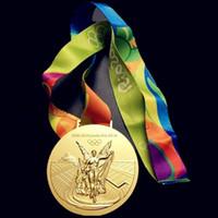 madalyalar ücretsiz gönderim toptan satış-2016 Rio Olimpiyat Oyunları Için Altın Madalya Yüksek Kaliteli Madalya Kayışı Kutusu Ücretsiz Kargo Ile