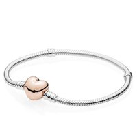 Wholesale Sterling Silver European Style Beads - 925 Sterling Silver Bracelet with Rose Gold Plated Heart Clasp Bracelet for European Style Charms and Beads