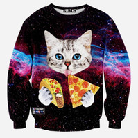 Wholesale Pizza Toppings - Wholesale-2016 Space Galaxy Animal Cat Eat Pizza 3D Jumper Hoodies Pullover Top Sweatshirt 16 color