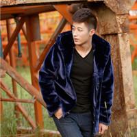 siyah mink coat erkek toptan satış-Güz-Erkek Faux Kürk Hood Motosiklet Kapüşonlu Deri Ceket Erkekler Kış Vizon Mont Rahat Giyim Cilt Ceketler Mor Siyah Kahve