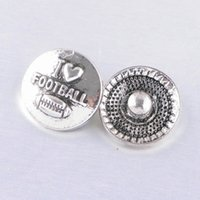 Wholesale American Football Buttons - Newest 18MM Noosa Snap Button Football Ginger Snap Button Interchangeable Diy Jewelry Chunk Button For Noosa Charm Bracelet Pendant