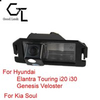 kia ters kamera toptan satış-Hyundai Elantra Touring Için i20 i30 Genesis Veloster Kia Soul Kablosuz Araba Oto Ters CCD HD Dikiz Kamera Park Yardımı