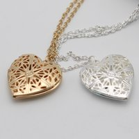 Wholesale Heart Locket Photo Frame Necklace - Charm locket necklace fashion lover Romantic heart Hollow Out Photo Frame childs friendship pendant necklaces for women