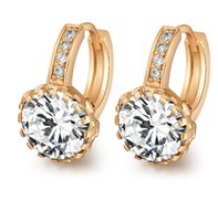 Wholesale Fshion Earring - New Fshion Earrings Natural Crystal Wholesale Fashion Small Real 18k Gold Plated Jewelry for Women Clip free shipping