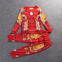 Wholesale Wholesale Character Pyjamas - 2017 Spiderman Batman Kids Clothes Set Baby Boys Long Sleeve Cotton Pajamas Childrens Superman Sleepwear Pyjamas Sets Girls Pajamas BPA01