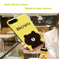 Wholesale Iphone Gel Case Cute Designs - Phone Shell For Iphone 6 7 8 Catoon Fashion Design Soft Silicone Gel Case With Cute Phone Rope Opp Package