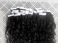 "Wholesale 6a peruvian hair - 6A Grade 16""-28"" 100G Deep Wave Tape Human Hair Skin Weft Tape Human Hair 40PCS 100% Peruvian Human PU Tape Hair Extensions"