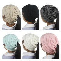 Wholesale Kids Boys Woolen - 2018 Kids Woolen Hats Winter CC Label Caps Girls Strch Ponytail Hats Winter Children Warm Knitted Crochet Skull Beanies 3-12 Years old
