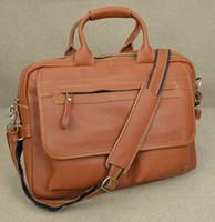 ingrosso borse rosse grandi-Wholesale- Cartella uomo in vera pelle doppio strato Rosso marrone unisex in pelle di mucca Borsa per laptop Borsa da 15