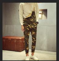Wholesale Denim Bib Pants - Wholesale-Desert Camouflage Overalls MIlitare Camo Streetwear Mens 2016 New Fashion Cargo Denim Bib Pants Free Shipping