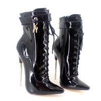 Wholesale Cheap Green Lady Boots - 2017 Women High Thin Boots Plus Size Patent Lace Up Ladies Party Boots Sexy Ankle Boots Pointed Toe Fashion Boot Cheap Modest