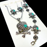 Wholesale Silver Skull Earrings Women - Fashion Jewelry lot Hot major Vintage Antique Silver Skull Jewelry Set Necklace Pendant Earring For Women Jewelry Sets LR050
