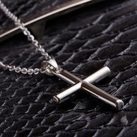 Wholesale Novelty Cuttings - Boys Titanium Necklace Jesus Faith Cross Man Pendeloque Cut Stainless Steel light novelty Memorial Titanium