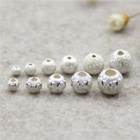 Wholesale Round Plunger - S925 Sterling Silver Lucky Frosted Loose Beads 3mm-8mm Embossing Ball Plunger For DIY Handmade Bracelet Jewelry Accessories