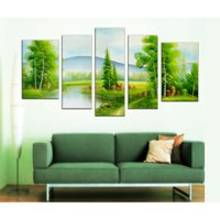 Wholesale great wall decor - 5 Picture Combination Multi Panel Lakeside Grasses and Green Trees Paintings Home Decor Picture Great Wall Modern Canvas Print