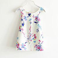 Wholesale Mini Silk Vest - 2016 Children Summer Vest Dresses Crew Neck Floral Print Dress For Kids Child Girls Bourette Sleeveless Dresses