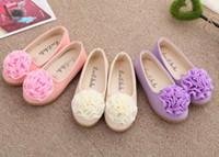 Wholesale purple dance shoes - New Kids girls shoes Spring Summer Flower Design Leather shoes Fashion Girl Sandals princess children dance shoes