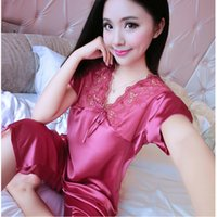 Wholesale Summer Sets For Women - Wholesale- Summer Woman Pyjamas Short Sleeved Pajamas Sets For Women Sexy V Neck Silk Pajama Pants Suits Sleepwear Sleeping Clothes