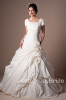 Wholesale Modest Taffeta Wedding Dresses - Ivory Vintage Ruched Taffeta Modest Wedding Dresses With Cap Sleeves Square Neck Short Sleeves Temple Bridal Gowns With Flowers Buttons
