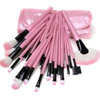 make-up-kit lippenstift schatten großhandel-32 Stücke Holz Professionelle Make-Up Pinsel Set Foundation Lidschatten lidschatten-palette Lippenstifte Pulver Make-Up Pinsel Kit Werkzeuge mit Tasche